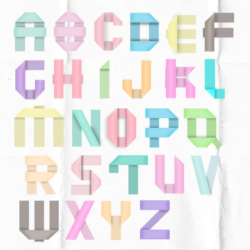 alphabet papier plie